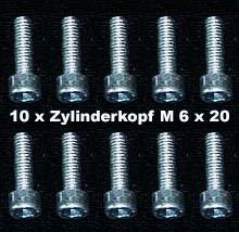 20 Stück Zylinderkopfschrauben Innensechskant M 6 x 20
