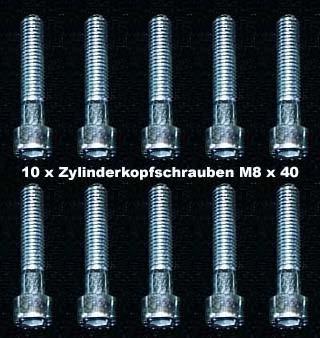 10 Stück Zylinderkopfschrauben Innensechskant M 8 x 40