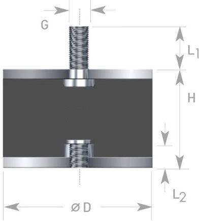 Gummi-Metall-Element Typ B 20x15 mm M 6