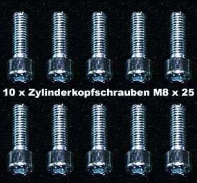 10 Stück Zylinderkopfschrauben Innensechskant M 8 x 25